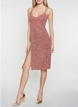Front Slit Glitter Knit Dress - 1412069390833