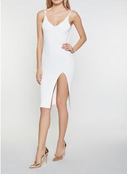 Sleeveless Side Slit Sweater Dress - 1412069391514