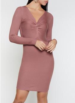 Twist Front Rib Knit Sweater Dress - 1412069391574