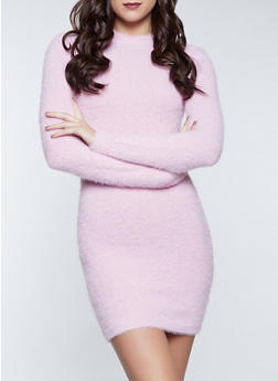 Eyelash Knit Mock Neck Dress - 1412069391700