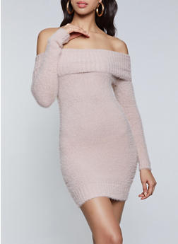 Eyelash Knit Off the Shoulder Sweater Dress - 1412069391709