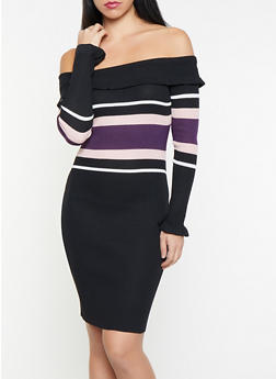 Color Block Off the Shoulder Sweater Dress - 1412069396010