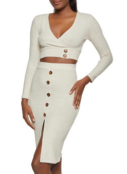 Rib Knit Faux Wrap Crop Top and Skirt Set - 1413015990337