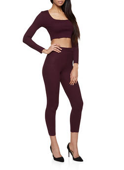 Rib Knit Cropped Sweater and Leggings - 1413015991330
