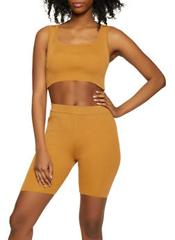 Rib Knit Cropped Tank Top with Bike Shorts - 1413015991742