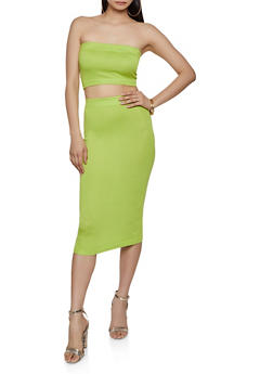Knit Tube Top and Pencil Skirt Set - 1413015993550