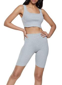 Ribbed Crop Top and Bike Shorts Set - 1413015994242
