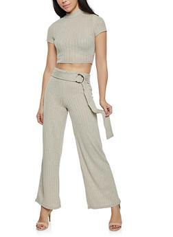 Ribbed Mock Neck Crop Top with Palazzo Pants - 1413015994325