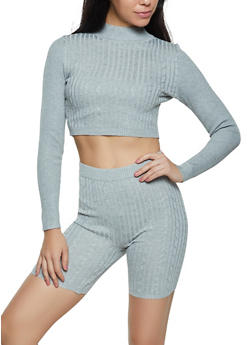 Knit Mock Neck Cropped Sweater with Bike Shorts - 1413015999540