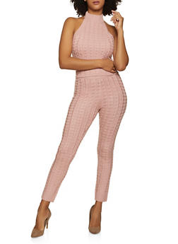Cable Knit Halter Top and Leggings Set - 1413038209039