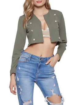 Double Breasted Cropped Blazer - 1413056574019
