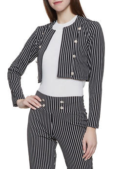 Button Detail Striped Blazer - 1413056574401