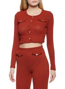 Rib Knit Long Sleeve Crop Top - 1413062122073