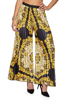 Pleated Printed Palazzo Pants - 1413062123000