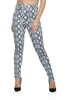Snake Print Pull On Pants - 1413062124256