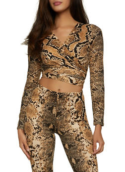 Snake Print Cropped Wrap Top - 1413062124772