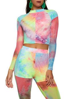 Mesh Sleeve Tie Dye Zip Crop Top - 1413062125386