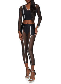 Contrast Trim Mesh Crop Top and Leggings - 1413062702936