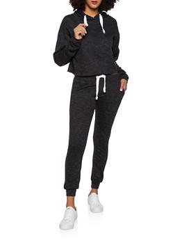 Marled Fleece Sweatshirt and Joggers Set - 1413062702939