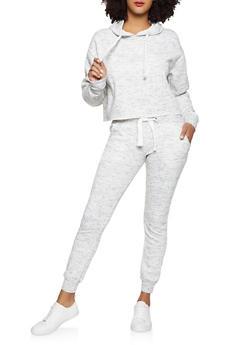 Marled Fleece Sweatshirt and Joggers Set - 1413062702939