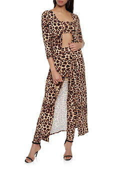 Animal Print Duster with Bandeau and Leggings - BROWN - 1413062702980