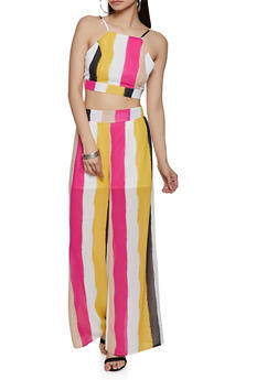 Multi Color Stripe Crop Top and Palazzo Pants - 1413062703135