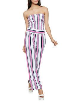 Striped Tube Top and Palazzo Pants Set - 1413062709363