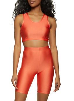 Spandex Crop Top and Bike Shorts Set - 1413062709365