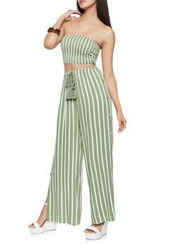 Striped Tube Top with Button Up Palazzo Pants - 1413062709386