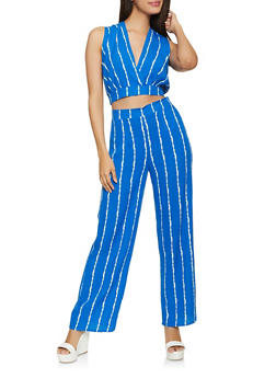 Striped Faux Wrap Crop Top and Palazzo Pants Set - 1413062709387