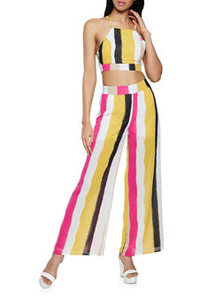 Tie Back Striped Crop Top and Palazzo Pants Set - 1413062709395