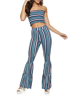 Striped Tube Top and Flared Pants Set - 1413062709398