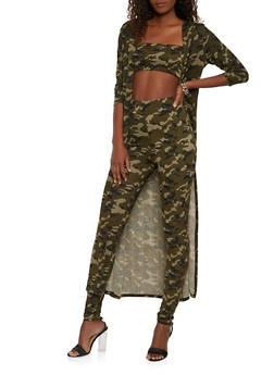 Camo Duster with Bandeau and Leggings Set - 1413062709406