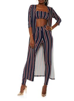 Striped Duster with Bandeau and Leggings - 1413062709805