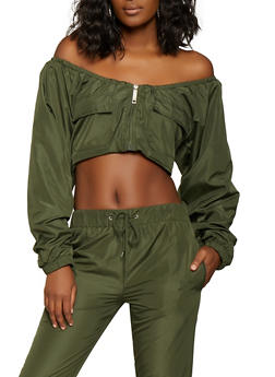 Off the Shoulder Cropped Windbreaker Jacket - 1413063400013