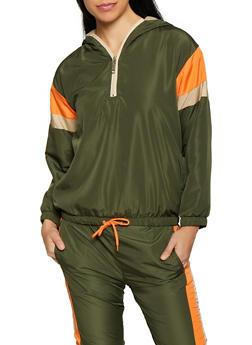 Color Block Pullover Windbreaker Jacket - 1413063400015