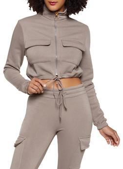 Cropped Fleece Lined Cargo Sweatshirt - 1413063400202