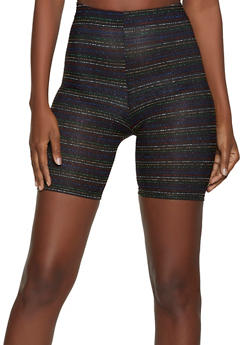 Lurex Striped Bike Shorts - 1413063401111