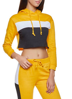 Color Block Cropped Sweatshirt - 1413063401125