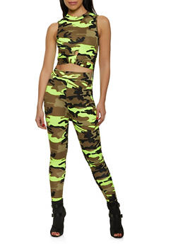 Mock Neck Camo High Low Top and Leggings Set - 1413063404112