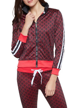 Love Graphic Tape Trim Track Jacket - 1413063408168