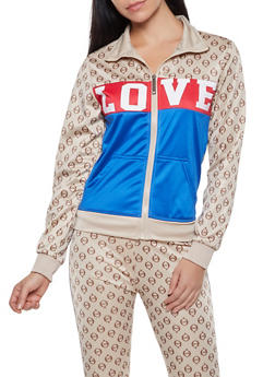 Love Graphic Color Block Track Jacket - 1413063409005