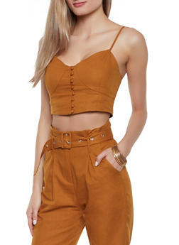 Smocked Back Cami Crop Top - 1413068197353