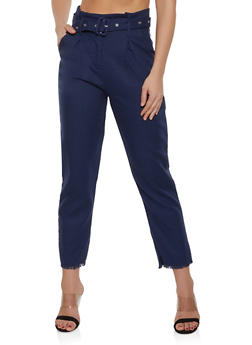 Belted Frayed Hem Trousers - 1413068197354