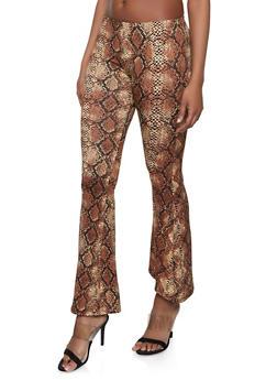 Snake Print Flared Pants - 1413068511350