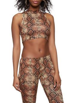 Snake Print Crop Top - 1413068511351