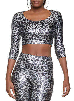 Cheetah Print Spandex Crop Top - 1413068511808