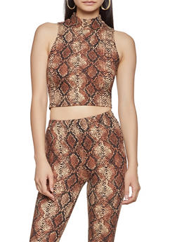 Snake Print Mock Neck Crop Top - 1413068515190