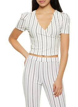 Striped Crepe Knit Faux Wrap Top - WHT-BLK - 1413069390031