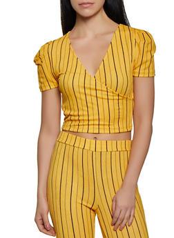Striped Crepe Knit Faux Wrap Top - 1413069390031